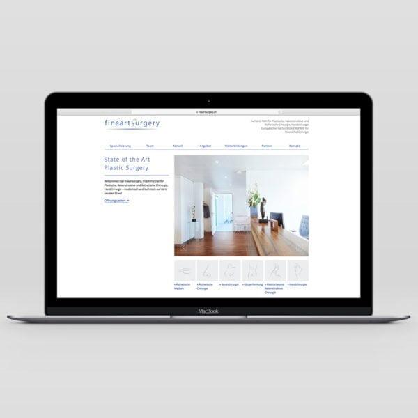 Bild der designten Webseite für fineartsurgery