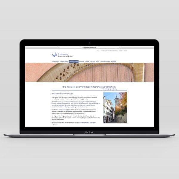 Bild der designten Webseite für den Trägerverein Paracelsus-Spital