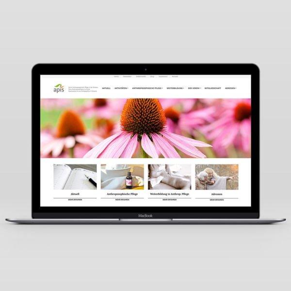 Bild der designten Webseite für APIS