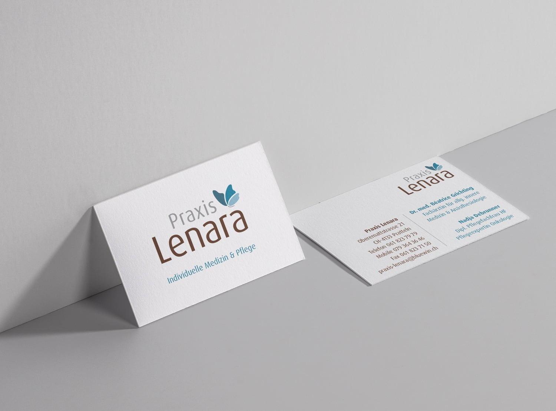 Bild der designten Visitenkarte für Praxis Lenara