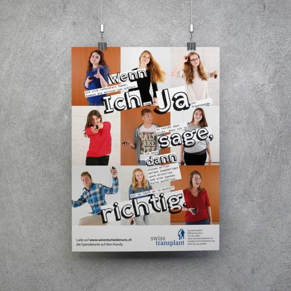 Bild des designten Plakats für Swisstransplant