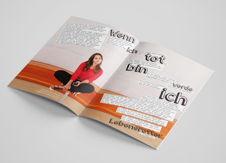 Bild der designten Broschüre für Swisstransplant
