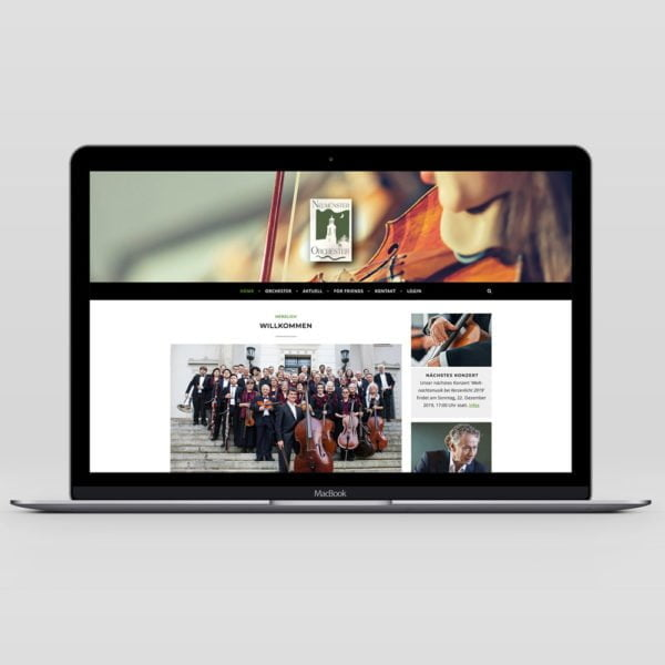 Bild der designten Webseite des Neumünster Orchesters