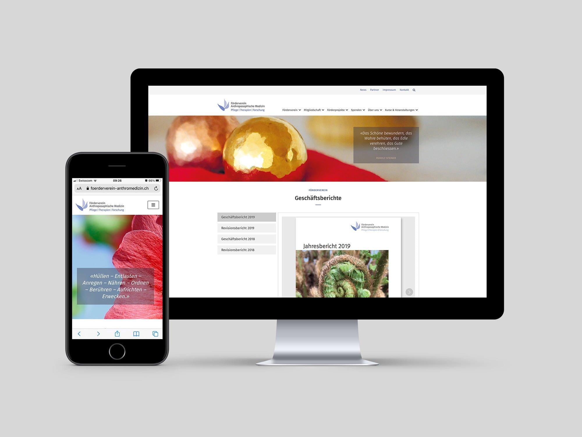 Website erstellen lassen | Grafikatelier Milligan Design | Kunde Förderverein Anthroposophische Medizin